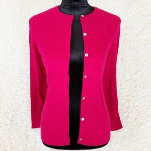 LANDS END Magenta Pink Cable Knit Cardigan Sweater